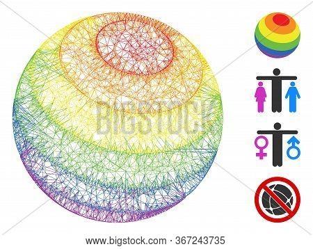 Mesh Lgbt Color Stripes Sphere Web Symbol Vector Illustration. Model Is Based On Lgbt Color Stripes