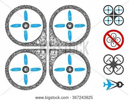 Mesh Copter Web Icon Vector Illustration. Abstraction Is Based On Copter Flat Icon. Network Forms Ab