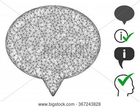 Mesh Hint Web Icon Vector Illustration. Model Is Based On Hint Flat Icon. Mesh Forms Abstract Hint F
