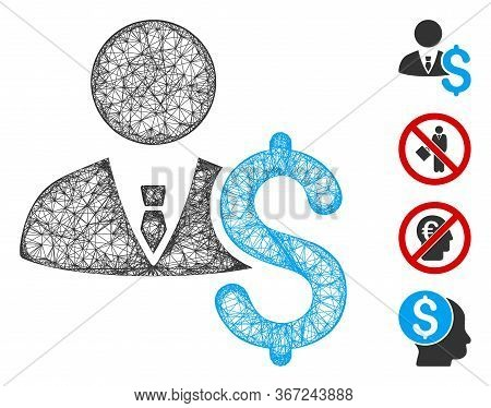 Mesh Banker Web Symbol Vector Illustration. Model Is Based On Banker Flat Icon. Net Forms Abstract B