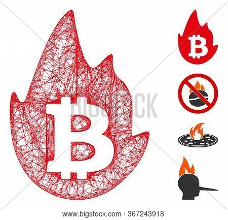 Mesh Hot Bitcoin Web Icon Vector Illustration. Carcass Model Is Created From Hot Bitcoin Flat Icon.