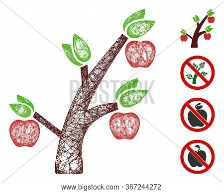 Mesh Apple Tree Web 2d Vector Illustration. Model Is Based On Apple Tree Flat Icon. Network Forms Ab