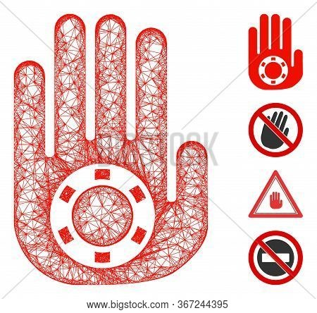 Mesh Stop Gambling Palm Web Icon Vector Illustration. Abstraction Is Based On Stop Gambling Palm Fla