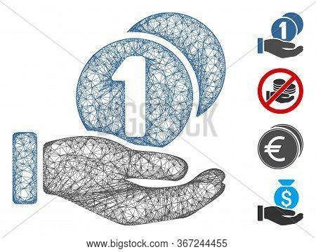 Mesh Coins Payment Hand Web Icon Vector Illustration. Carcass Model Is Based On Coins Payment Hand F