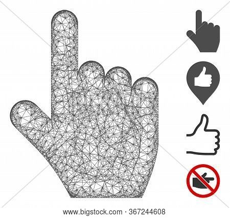 Mesh Select Gesture Web Icon Vector Illustration. Model Is Based On Select Gesture Flat Icon. Mesh F