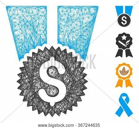 Mesh Financial Medal Web 2d Vector Illustration. Carcass Model Is Based On Financial Medal Flat Icon