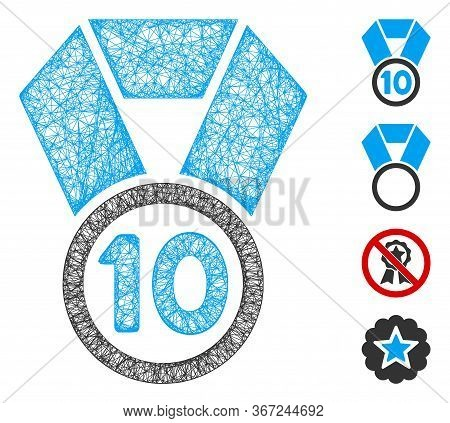 Mesh 10th Place Medal Web 2d Vector Illustration. Carcass Model Is Based On 10th Place Medal Flat Ic