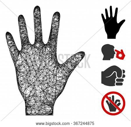 Mesh Hand Web 2d Vector Illustration. Carcass Model Is Based On Hand Flat Icon. Mesh Forms Abstract