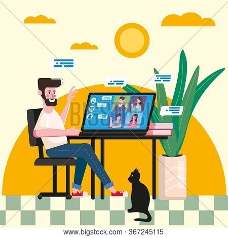 Man Worked From Home Video Conference People On Computer Screen Laptop Talking By Internet In Videoc
