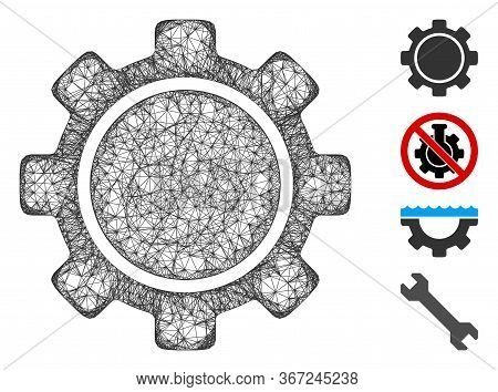 Mesh Gear Web Icon Vector Illustration. Model Is Based On Gear Flat Icon. Network Forms Abstract Gea