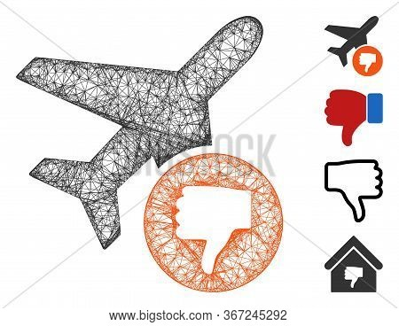 Mesh Airplane Fail Web 2d Vector Illustration. Model Is Based On Airplane Fail Flat Icon. Mesh Forms