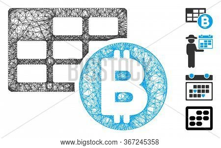 Mesh Bitcoin Table Web Icon Vector Illustration. Carcass Model Is Based On Bitcoin Table Flat Icon.