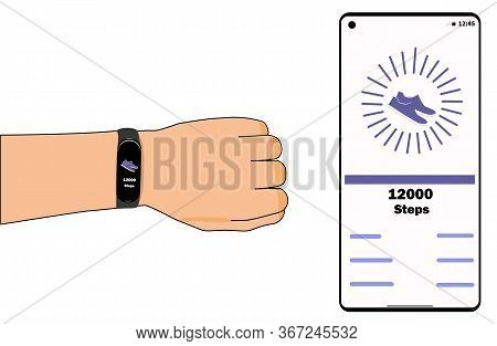 Fitness Tracker On Hand. App On The Phone.the Tracker Shows The Number Of Steps. The Application On