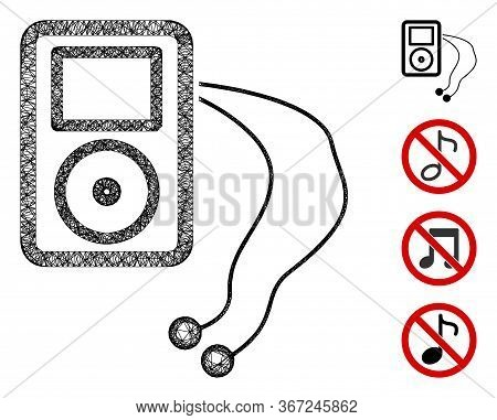 Mesh Mobile Media Player Web Icon Vector Illustration. Carcass Model Is Based On Mobile Media Player