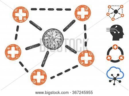 Mesh Medical Network Structure Web Icon Vector Illustration. Model Is Created From Medical Network S