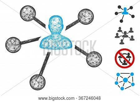 Mesh Person Relations Web Icon Vector Illustration. Carcass Model Is Based On Person Relations Flat