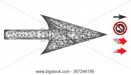 Mesh Arrow Axis X Web Icon Vector Illustration. Model Is Based On Arrow Axis X Flat Icon. Network Fo