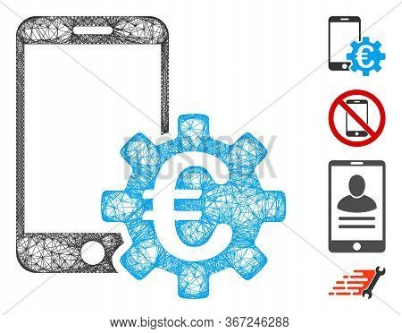 Mesh Euro Mobile Bank Configuration Web Icon Vector Illustration. Carcass Model Is Based On Euro Mob