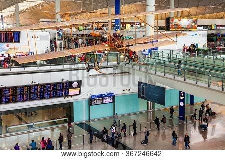 Hong Kong, China - February 21, 2013: Vintage Retro Plane In The Hong Kong International Airport. Ho