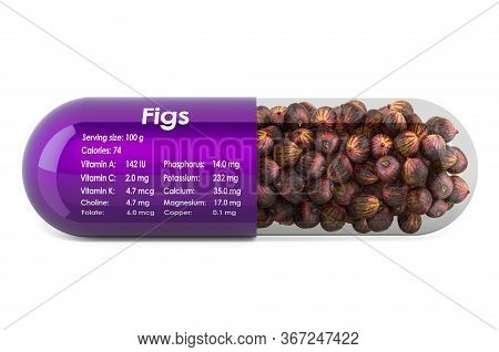 Common Fig, Vitamins And Minerals Composition In Figs. 3d Rendering Isolated On White Background