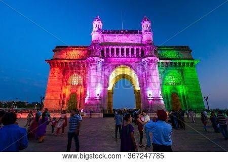 Mumbai, India - February 21, 2014: Gateway Of India At Night. Gateway Of India Is An Arch Monument I