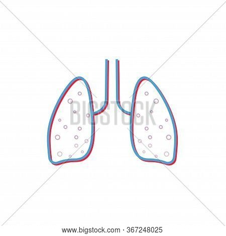 Lung Flat Line Icon. Vector Thin Pictogram Of Human Internal Organ, Outline Illustration For Pulmona