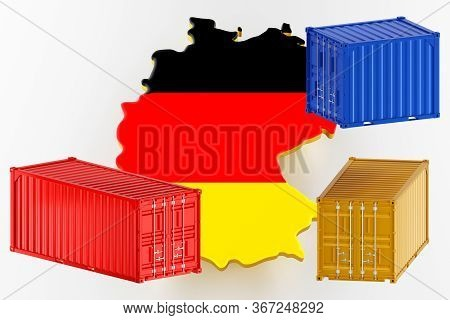 3d Map Of Germany. Freight Shipping In Containers. Export From The Country In Containers. 3d Renderi