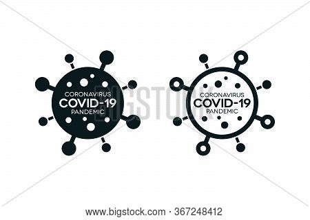 Covid-19 Minimal Icons. Novel Coronavirus Pandemic Filled And Outlined Banners On White Background.