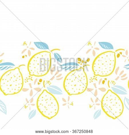 Vector Graphic Modern Summer Lemon Repeating Border. Hand Drawn Bright Citrus Fruit Pattern With Lea