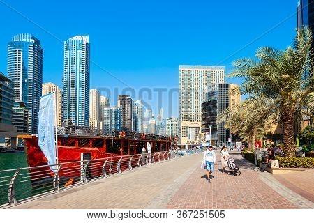 Dubai, Uae - February 26, 2019: Dubai Marina Is An Artificial Canal City And A District In Dubai In