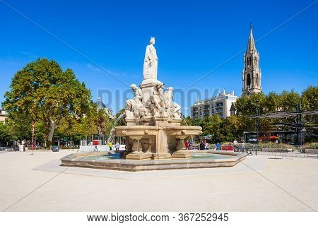 Nimes, France - September 22, 2018: Pradier Fountain At The Esplanade Charles De Gaulle Park In Nime