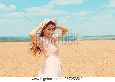 Summer Nature, Summer Holidays, Vacation And People Concept. Half Body Portrait, Smiling Face Of Hap