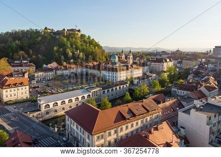 Aerial Drone Panoramic View Of Ljubljana Medieval City Center, Capital Of Slovenia In Warm Afternoon