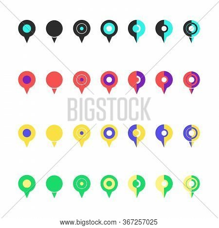 Pins For Maps, Location Symbol, Navigation Position Marker And Trip Place Pointer Web Vector Illustr