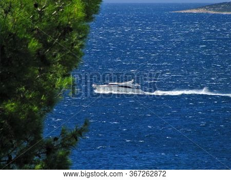 Large Luxury Yacht Cruising At High Speed Near Cres Island And Istra, Croatia