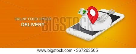 Delivery Food Order Concept, App Service Online To Internet With Phone, New Normal Business, Applica