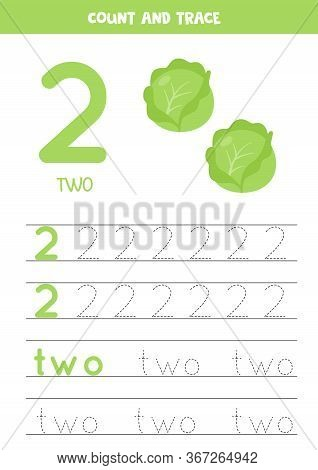 Tracing Number 2 And The Word Two. Handwriting Practice For Kids With Two Cartoon Cabbages. Learning