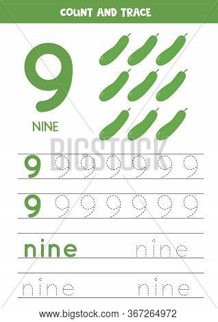 Numbers And Letters Tracing Practice. Writing Number 9 And The Word Nine. Tracing Worksheet With Car