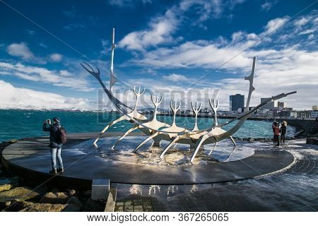 Reykjavic , Iceland- Feb 20, 2020:  The Sun voyager one of the Icelandic famous sculpture in Reykjavik the capital city of Iceland.