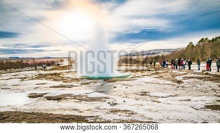 Strokkur, Iceland- Feb 21, 2020:  Icelandic Geyser Strokkur. Great tourist attraction on Golgen Circle Iceland.