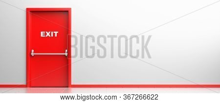 Fire Exit Sign On A Red Door In White Color Building Interior Background. Fire Safety Escape Route.