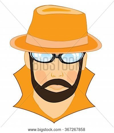 Portrait Men Spy In Hat And Spectacles