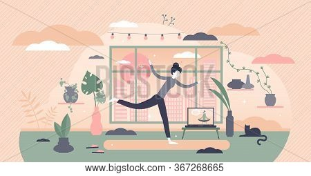 Morning Exercise Vector Illustration. Daily Yoga Flat Tiny Persons Concept. Everyday Stretching And
