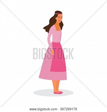 Woman Character In Historic Ethnic Costume, Flat Vector Illustration Isolated.