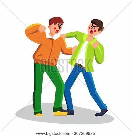 Men Fighting Boxing, Aggressive Behavior Vector Illustration