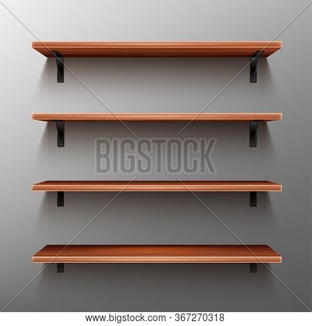 Empty Wooden Shelves On Gray Wall. Vector Realistic Mockup Of Bookshelves In Home Or Library, Wood R