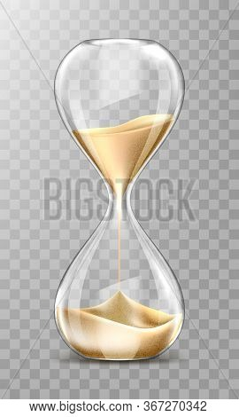 Sand Hourglass, Glass Timer With Falling Golden Grains. Vector Realistic Sand Clock Isolated On Tran