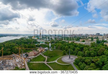 Construction Near The Kiev Pechersk Lavra From A Height. Kiev, Ukraine.