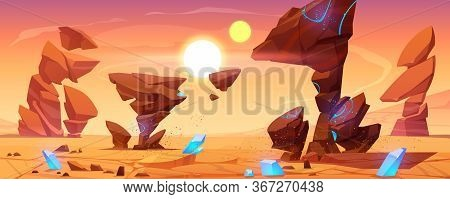 Alien Planet Desert In Cosmos. Mars Landscape Background, Ocher Ground Surface With Rocks, Blue Crys