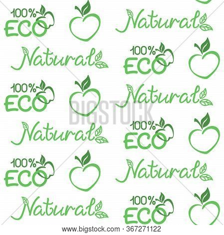 Eco, Natural Background. Vector Seamless Pattern For Natural Product, Farm Market, Food Market, Eco